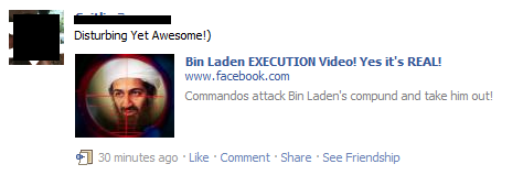 Facebook Bin Laden Execution Video scam