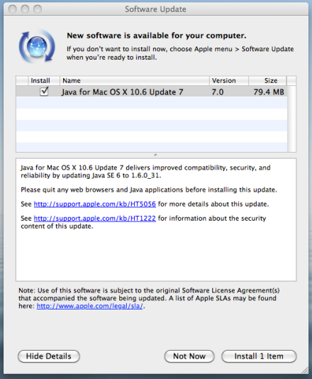 Java for Mac OS X update