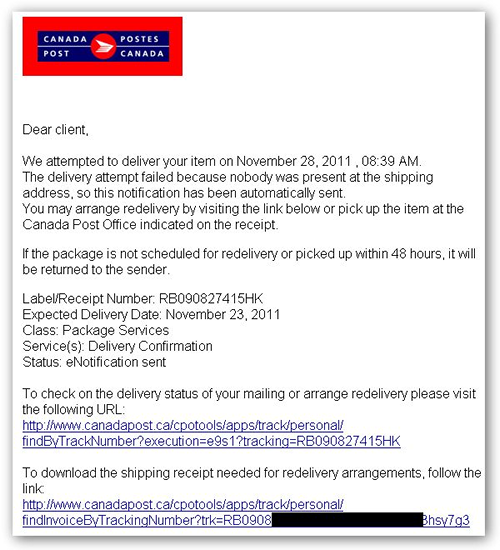 Failed Package Delivery malware email