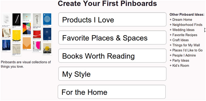create your first pinboard