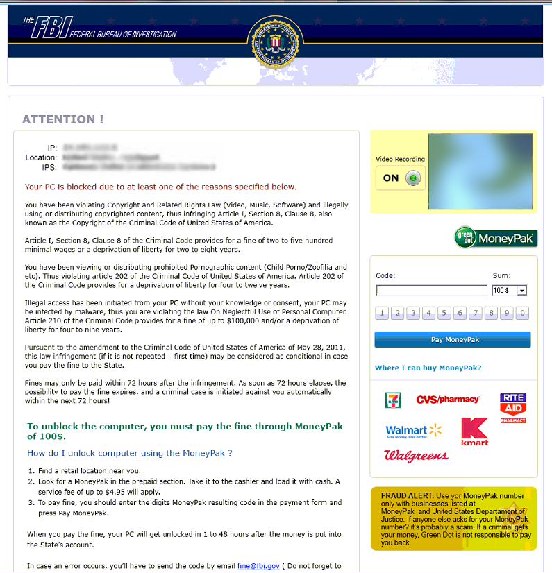 FBI Ransomware: Reveton seeks MoneyPak payment in the name of the law