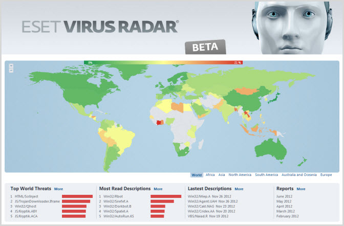 Virus Radar (click to access)