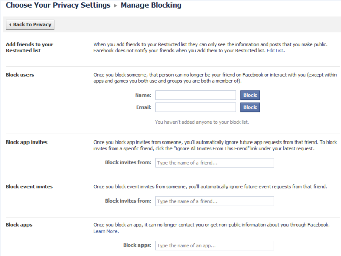 Manage blocking in Facebook
