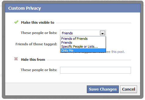 Facebook privacy only me