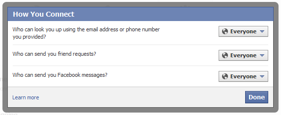 Facebook connect privacy settings