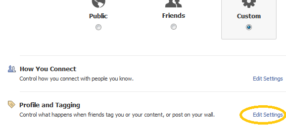 Facebook profile and tagging privacy