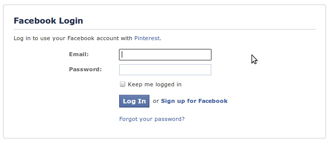 pinterest login through facebook