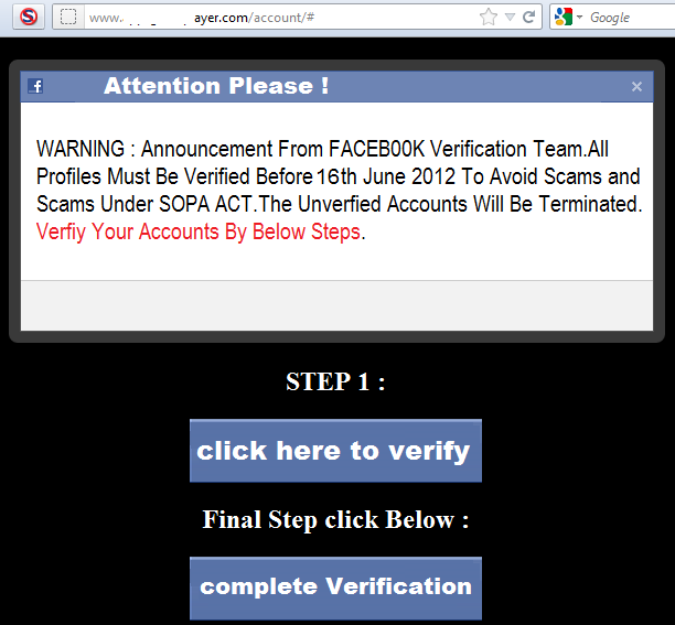 Your Facebook account will be terminated – again