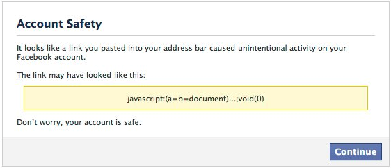 Facebook's Self-XSS Protection Account Safety