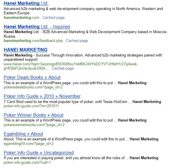 haneimarketing search results