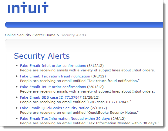 Intuit Security Alerts