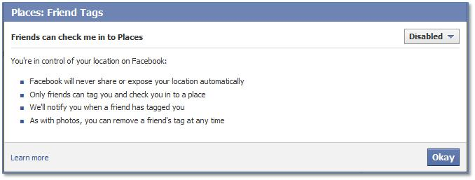 Facebook Friends can check me in to Places