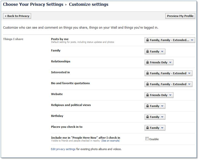 Facebook Customize Settings
