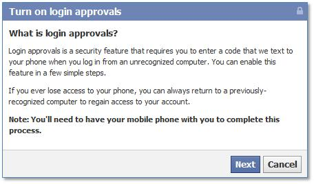 Facebook turn on login approvals