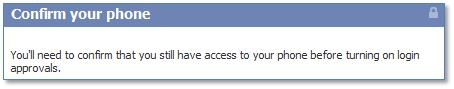 Facebook confirm your phone