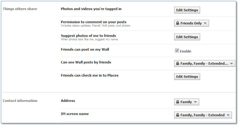 "Facebook ""Things Others Share"" and ""Contact Information"""