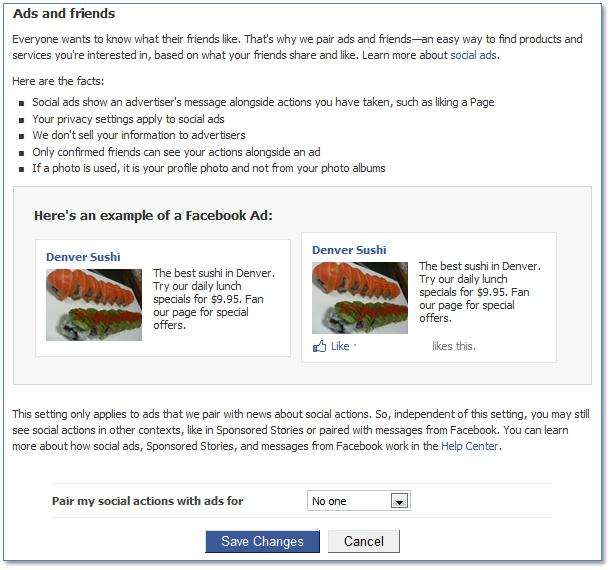 Facebook social ads settings