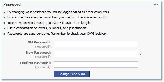 Facebook Password
