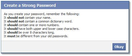 Facebook Create a Strong Password