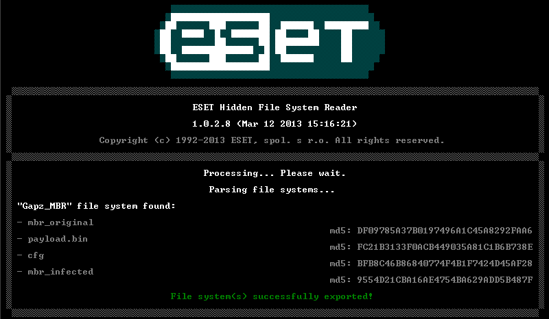ESET hidden file System Reader
