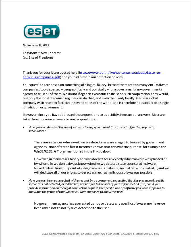 ESET Detection Policy