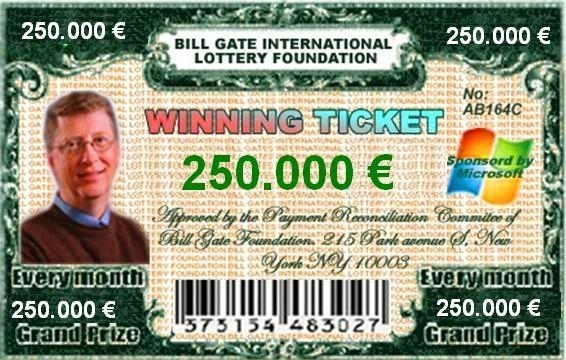 Bill Gates bogus lottery ticket