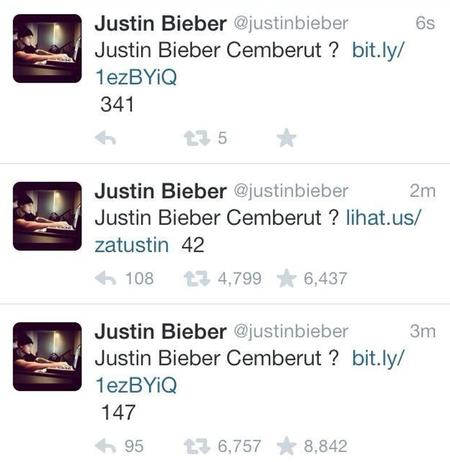 Tweets from Justin Bieber's Twitter account