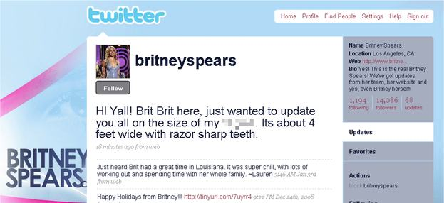 Britney Spears Twitter account hack, 2009