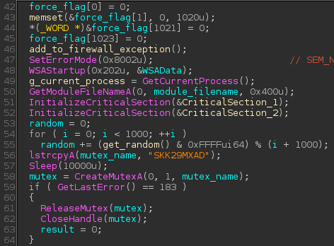 Calling add_to_firewall_exception() before creating the mutex in the WinMain() function of Win32/RBrute.B.