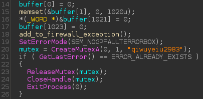 Figure  Calling add_to_firewall_exception() before creating the mutex in the WinMain() function of Win32/RBrute.B.