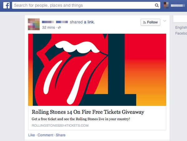 Rolling Stones tickets scam on Facebook