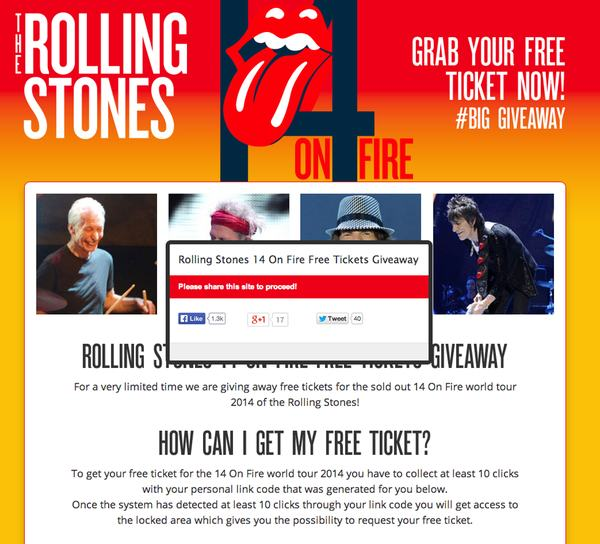 Scam Rolling Stones website