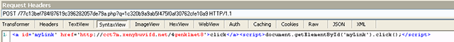 Intermediate page returning the code performing the redirect