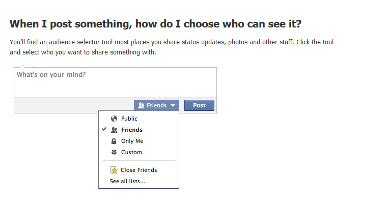 Use this menu to control who posts are shared with