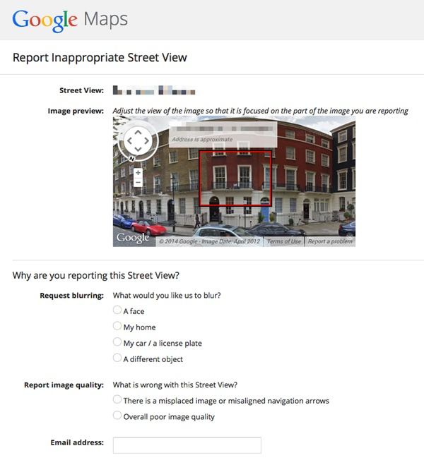 Report Google Street View