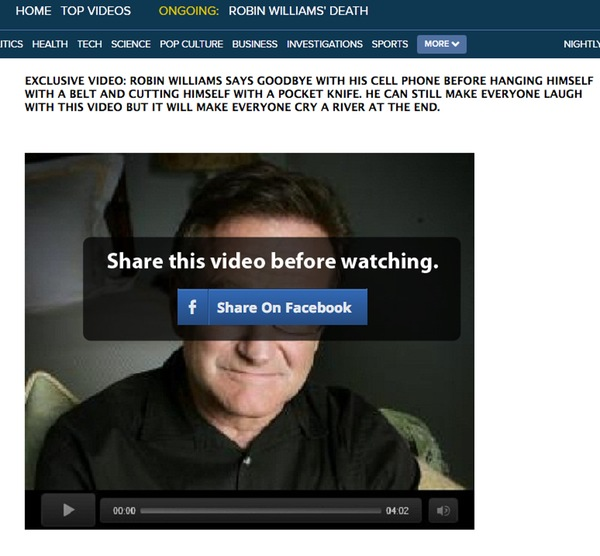Robin Williams Facebook scam