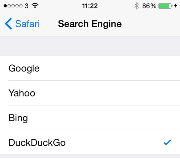 How to change Safari's default search engine in iOS 8 for