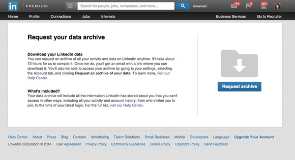 Request LinkedIn data archive