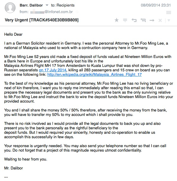 MH17 email scam