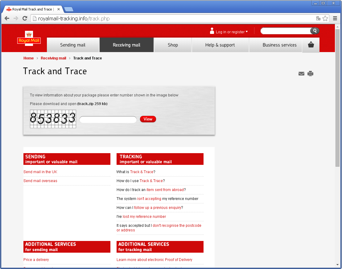 Royal Mail phishing page