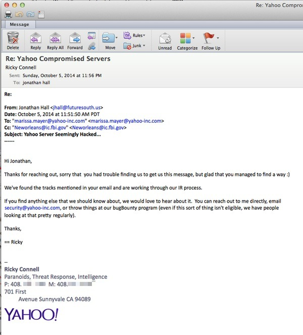 Email response from Yahoo