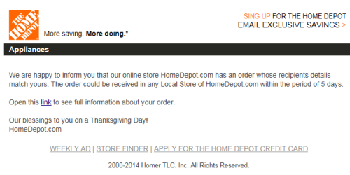 fake Home Depot email