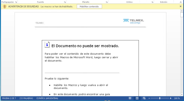 Documento de Word con Macros maliciosas