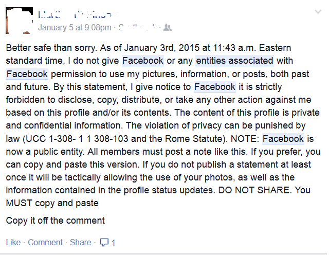 The new variations on the hoax have one thing in common - they have no effect on your legal rights (Picture: Facebook)