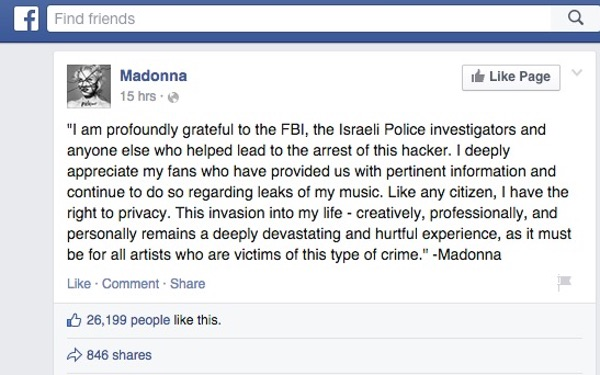 Statement from Madonna