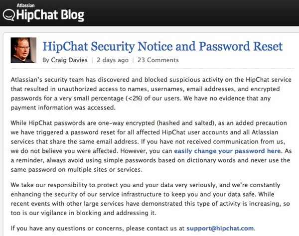 HipChat statement  - hipchat statement - HipChat hack leads to precautionary password reset