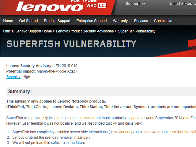 Figure 1: Lenovo PSIRT advisory  - 20150308AG Image 1 - Lenovo goes on the bloatware offensive