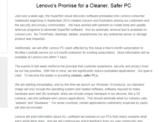 Figure 2: Lenovo's February 27th news release  - 20150308AG Image 2 - Lenovo goes on the bloatware offensive
