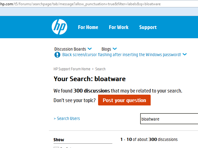 Figure 3: Search results from Hewlett-Packard