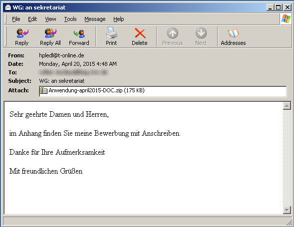 Email Anhang Englisch
